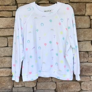 HTF WILDFOX LUCKY CHARMS Kim's Sweater🍀🍄💗🌈